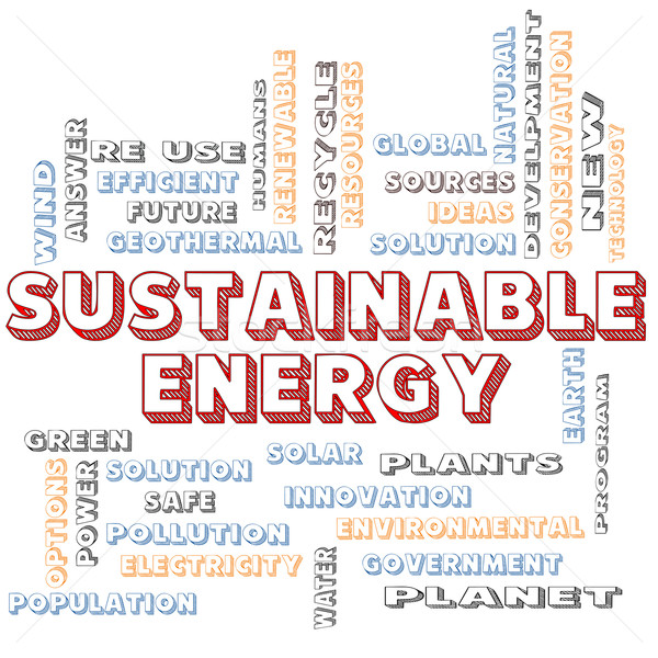 Stock photo: Sustainable Energy Blocked Word Cloud Concept