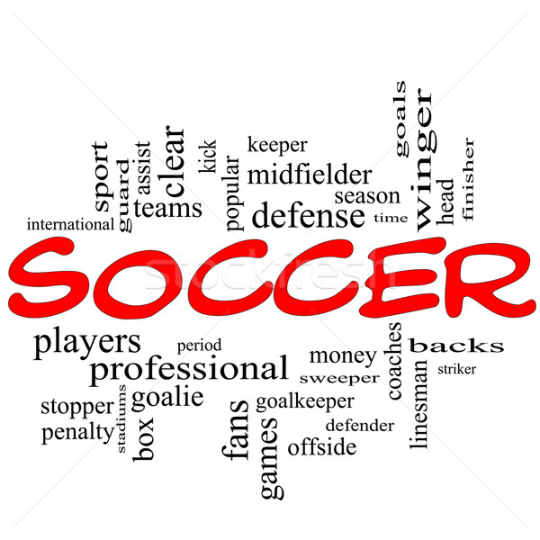 Soccer Word Cloud Concept in red scribbles Stock photo © mybaitshop