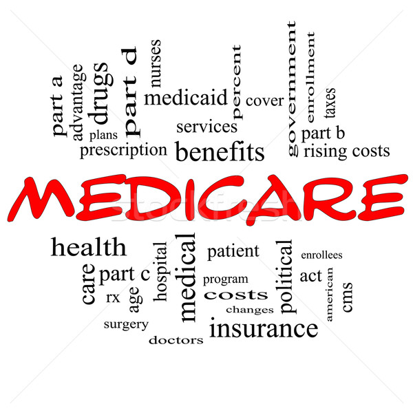 Medicare Word Cloud Concept in Red Caps Stock photo © mybaitshop
