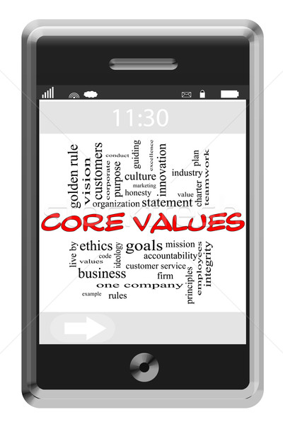Core Values Word Cloud Concept on Touchscreen Phone Stock photo © mybaitshop