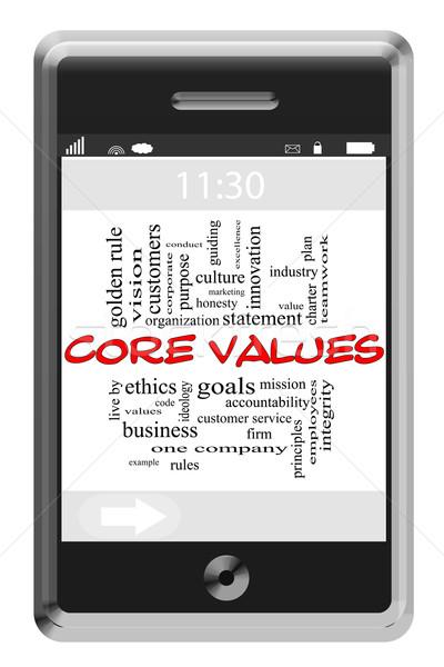 Core valeurs nuage de mots écran tactile téléphone magnifique Photo stock © mybaitshop