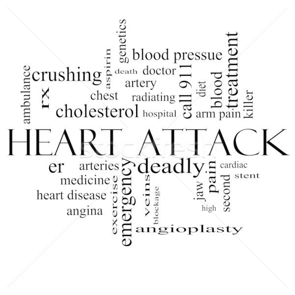 ストックフォト: 心臓発作 · 言葉の雲 · 黒白 · 心臓病 · rx