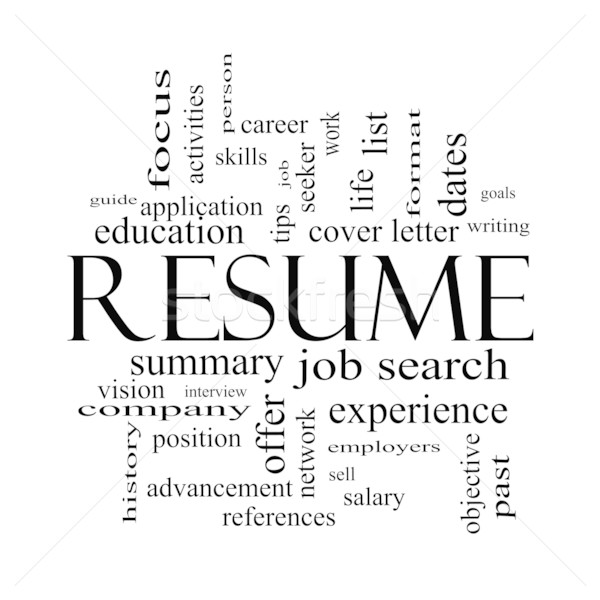 Resume Word Cloud Concept in Black and White Stock photo © mybaitshop