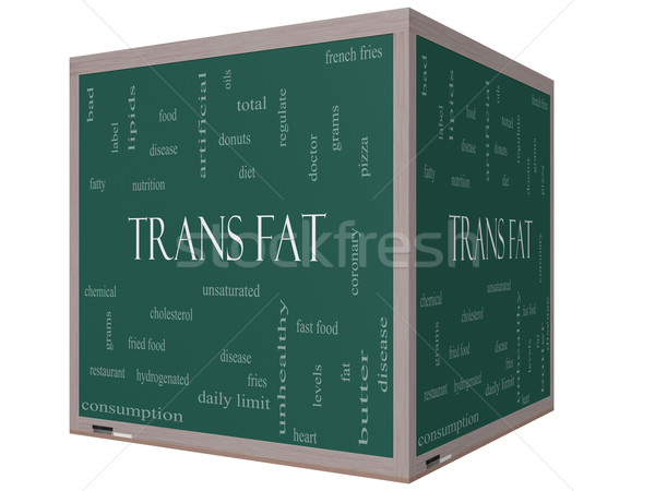 Trans Fat Word Cloud Concept on a 3D Cube Blackboard Stock photo © mybaitshop