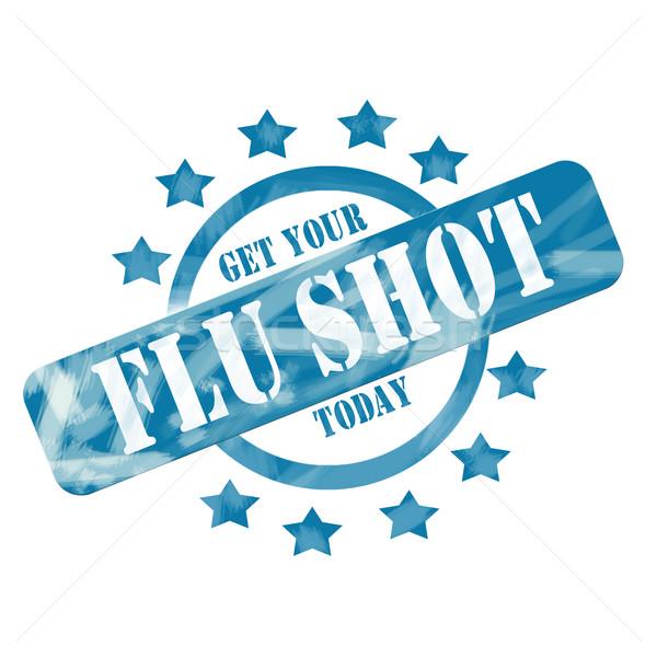 Blue Weathered Flu Shot Stamp Circle and Stars Design Stock photo © mybaitshop