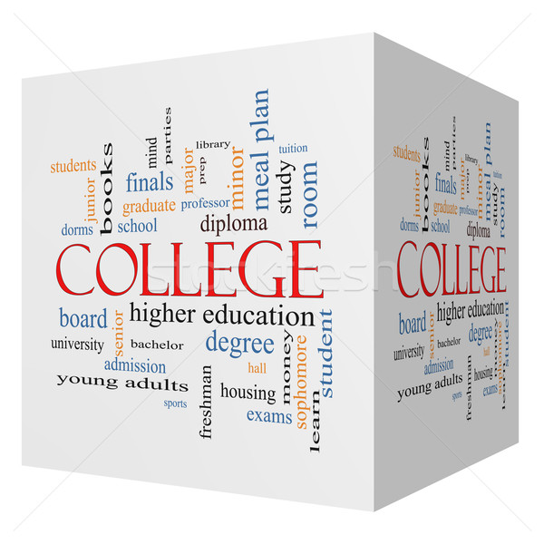 Főiskola 3D kocka szófelhő nagyszerű tandíj Stock fotó © mybaitshop