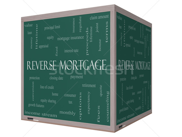 Reverse Mortgage Word Cloud Concept on a 3D cube Blackboard Stock photo © mybaitshop