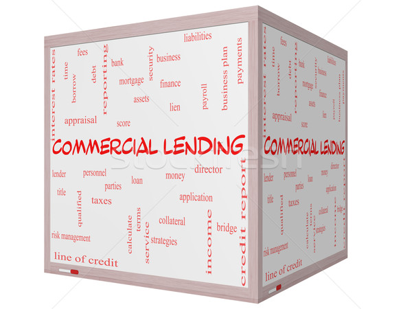 Commercial Lending Word Cloud Concept on a 3D cube Whiteboard Stock photo © mybaitshop