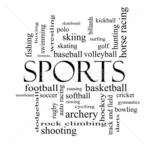 Sports Word Cloud Concept in black and white Stock photo © mybaitshop