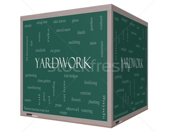 Yardwork Word Cloud Concept on a 3D cube Blackboard Stock photo © mybaitshop
