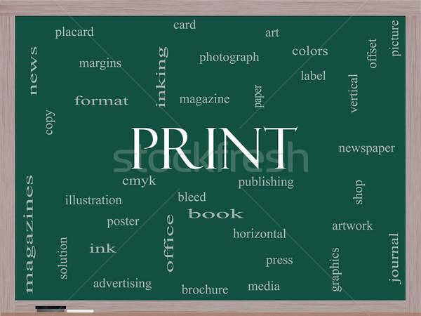 Print Word Cloud Concept on a Blackboard Stock photo © mybaitshop