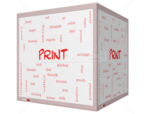 Print Word Cloud Concept on a 3D cube Whiteboard Stock photo © mybaitshop