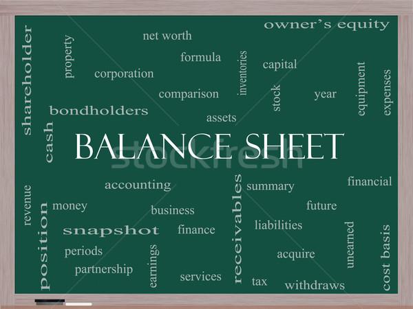 Balance Sheet Word Cloud Concept on a Blackboard Stock photo © mybaitshop