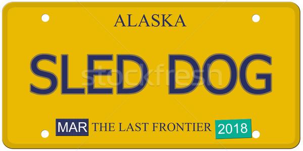 Chien Alaska plaque d'immatriculation imitation mots dernier Photo stock © mybaitshop