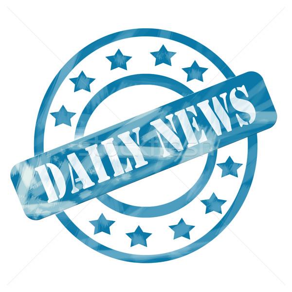 Blauw verweerde dagelijks nieuws stempel cirkels Stockfoto © mybaitshop