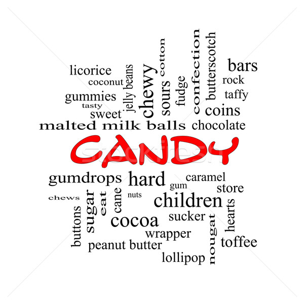 Candy Word Cloud Concept in red caps Stock photo © mybaitshop