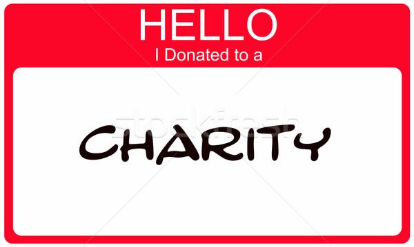 Olá caridade vermelho nome adesivo Foto stock © mybaitshop