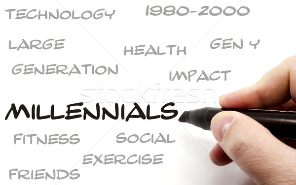 Hand writing Millennials word Concept Stock photo © mybaitshop