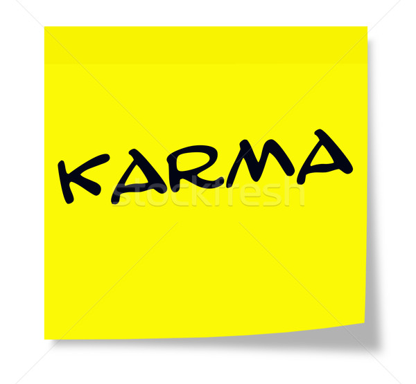 Karma öntapadó jegyzet írott citromsárga papír készít Stock fotó © mybaitshop