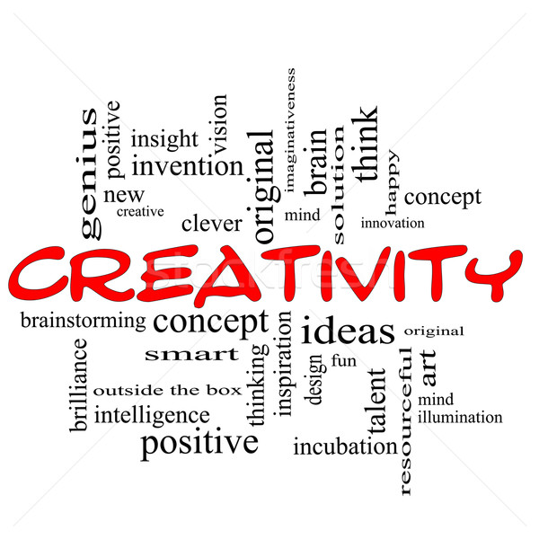 Creativity Word Cloud Concept Red Black Stock photo © mybaitshop