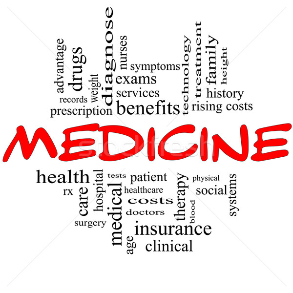 Medicine Word Cloud Concept in Red and Black Stock photo © mybaitshop