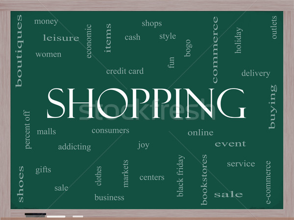 Stock photo: Shopping Word Cloud Concept on a Blackboard