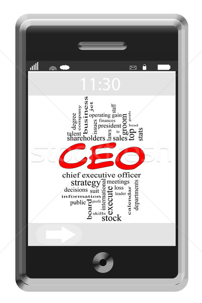 CEO Word Cloud Concept on Touchscreen Phone Stock photo © mybaitshop