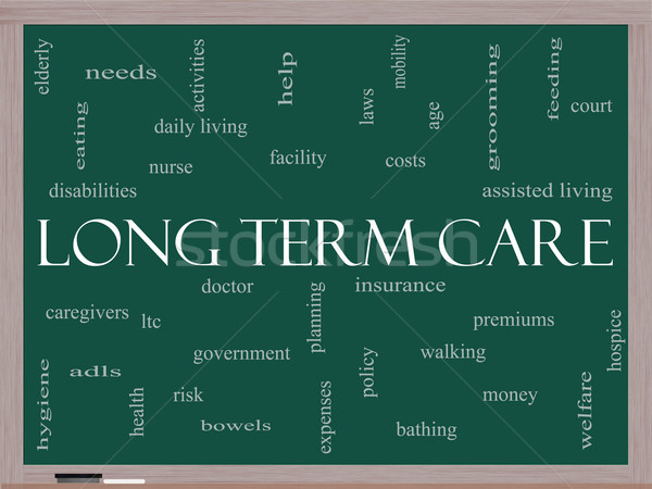 Long Term Care Word Cloud Concept on a Blackboard Stock photo © mybaitshop