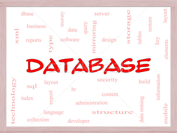 Database Word Cloud Concept on a Whiteboard Stock photo © mybaitshop