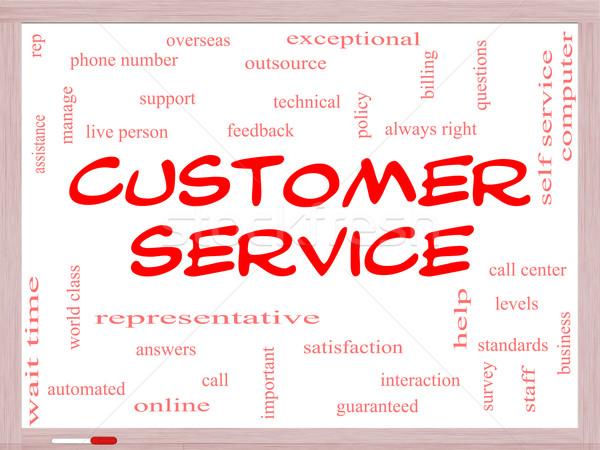 Customer Service Word Cloud Concept on a Whiteboard Stock photo © mybaitshop