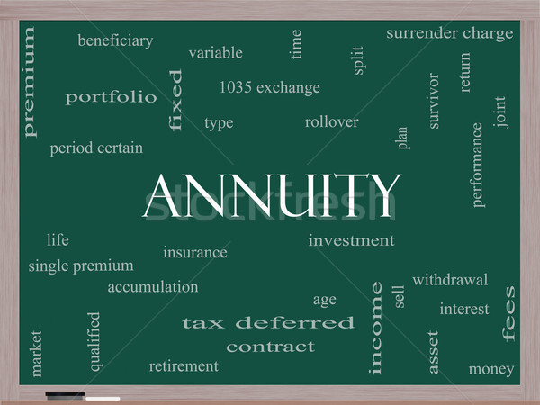 Annuity Word Cloud Concept on a Blackboard Stock photo © mybaitshop