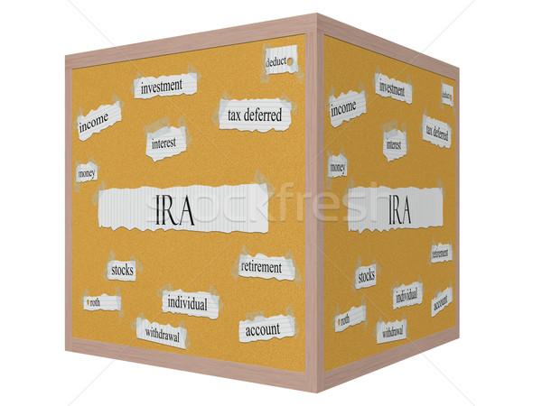 IRA 3D cube Corkboard Word Concept Stock photo © mybaitshop