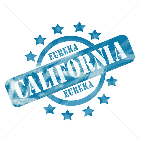 Blue Weathered California Stamp Circle and Stars Design Stock photo © mybaitshop