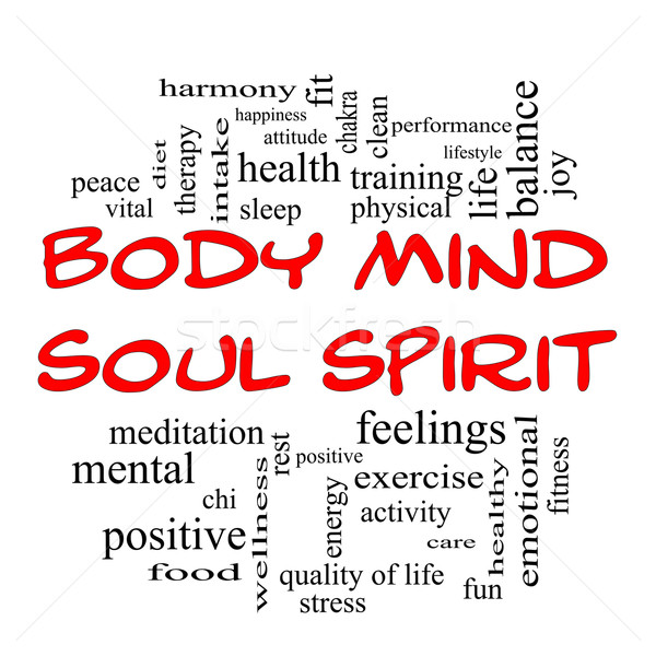 Body Mind Soul Spirit Word Cloud Concept in red caps Stock photo © mybaitshop