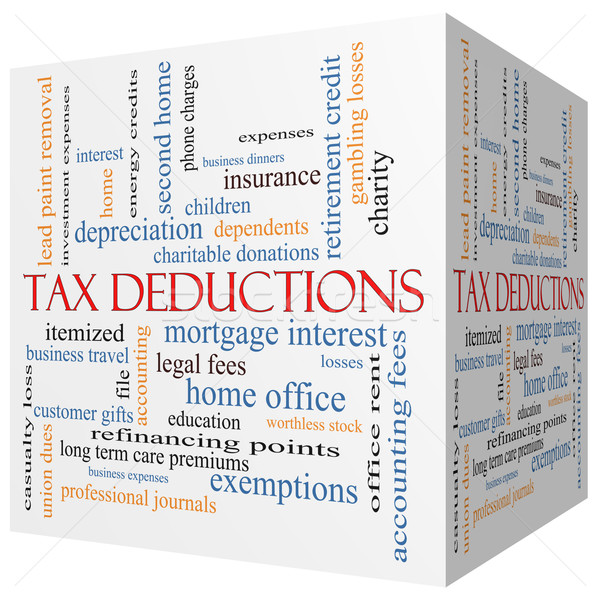 Tax Deductions 3D cube Word Cloud Concept Stock photo © mybaitshop