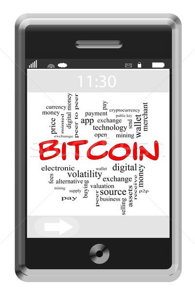 Bitcoin Word Cloud Concept on Touchscreen Phone Stock photo © mybaitshop