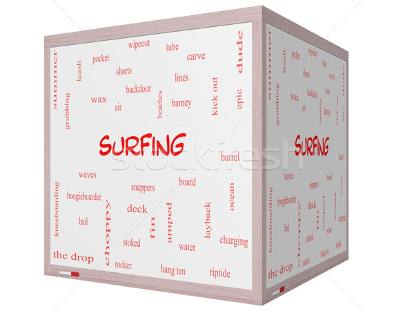 Surfing Word Cloud Concept on a 3D cube Whiteboard Stock photo © mybaitshop