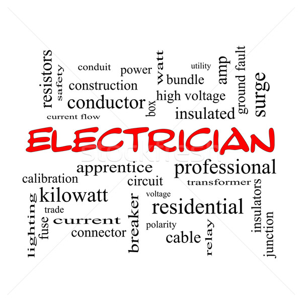 Electrician Word Cloud Concept in red caps Stock photo © mybaitshop