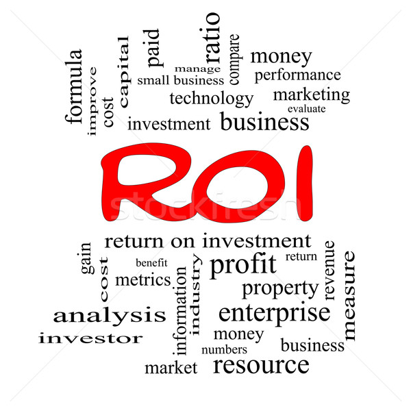 ROI Word Cloud Concept in red caps Stock photo © mybaitshop