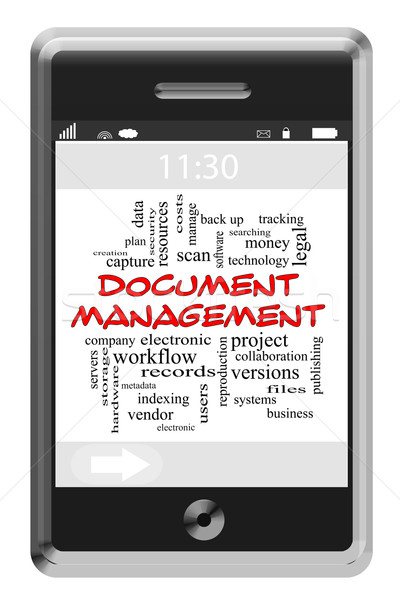 Document Management Word Cloud Concept on Touchscreen Phone Stock photo © mybaitshop