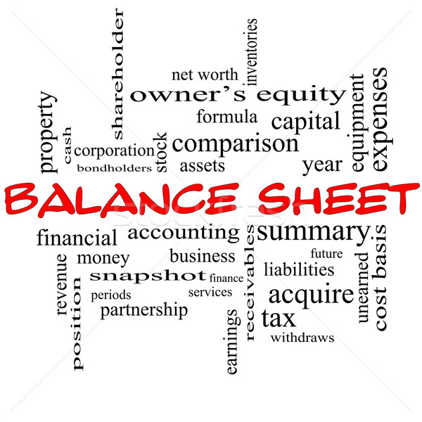 Balance Sheet Word Cloud Concept in red caps Stock photo © mybaitshop