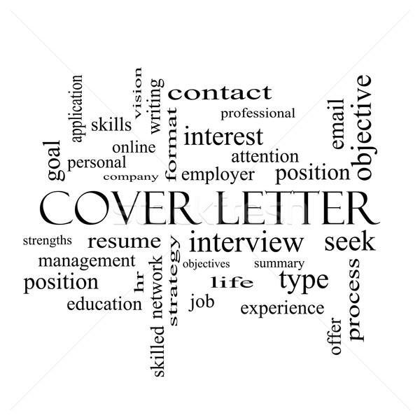 Borító levél szófelhő feketefehér nagyszerű interjú Stock fotó © mybaitshop