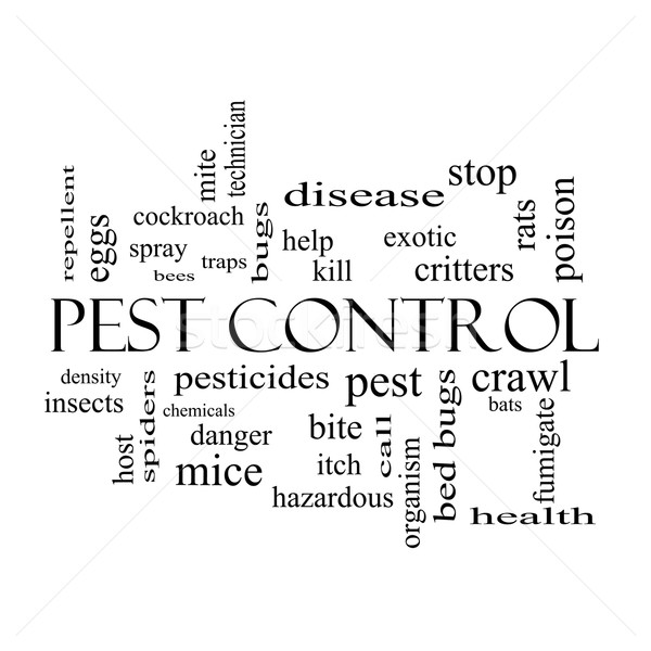Pest Control Word Cloud Concept in black and white Stock photo © mybaitshop
