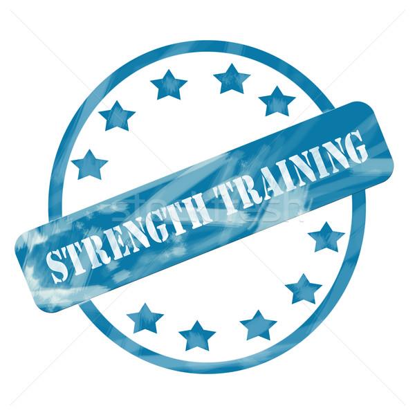 Niebieski wyblakły trening siłowy pieczęć kółko gwiazdki Zdjęcia stock © mybaitshop