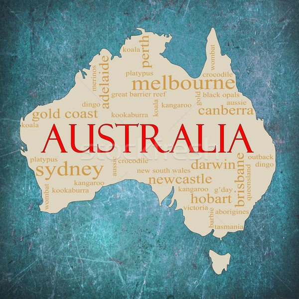 Blue Grunge Australia word cloud Stock photo © mybaitshop