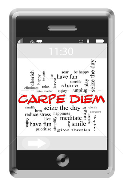 Carpe Diem Word Cloud Concept on Touchscreen Phone Stock photo © mybaitshop