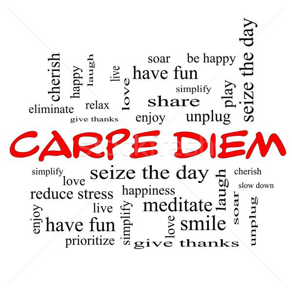 Carpe Diem Word Cloud Concept in red caps Stock photo © mybaitshop