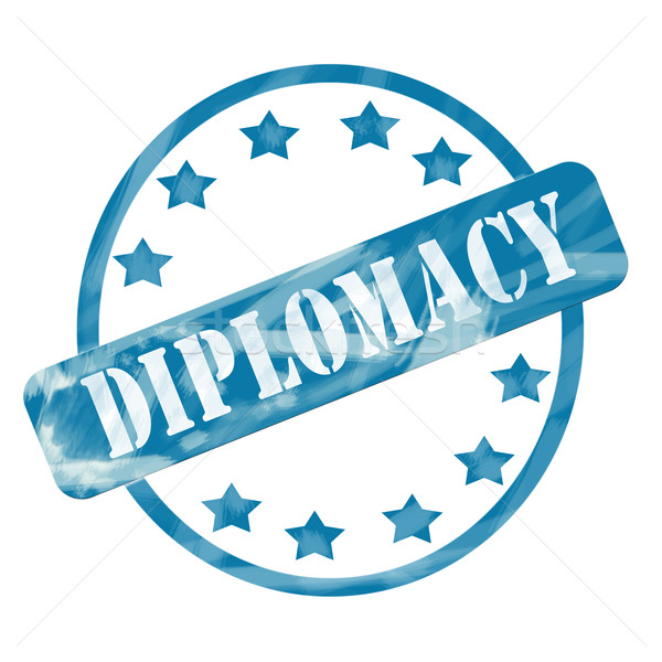 Blue Weathered Diplomacy Stamp Circle and Stars Stock photo © mybaitshop