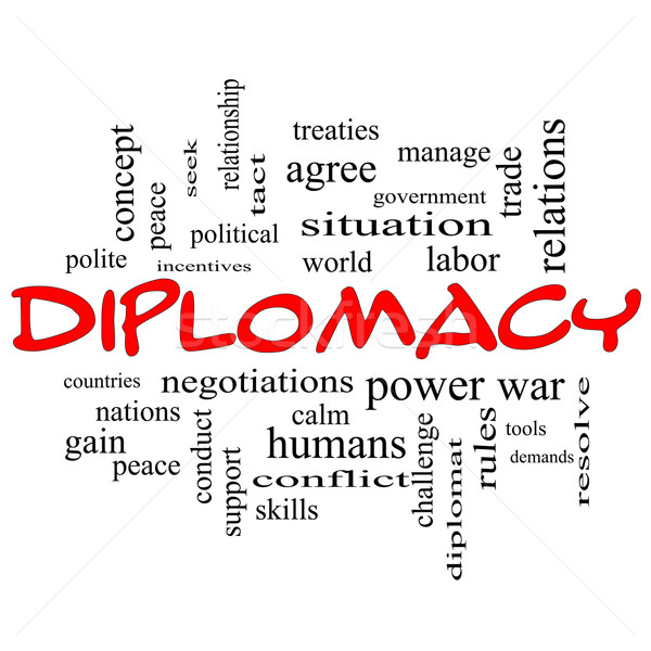 Diplomacy Word Cloud Concept in red caps Stock photo © mybaitshop