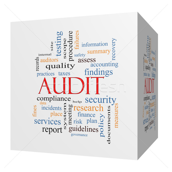 Audit 3D cube Word Cloud Concept Stock photo © mybaitshop
